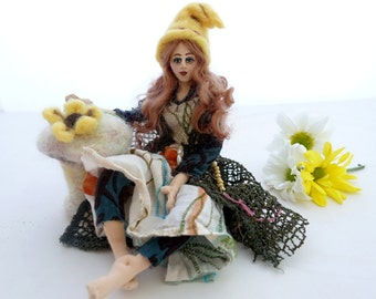 Cloth Art Doll poseable fairy green yellow colour shelf sitter gnome Fin Folk