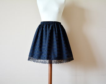 Dark striped skirt with lace,mini skirt, aline skirt, black blue skirt, gothic skirt, high waisted skirt, womens clothing, cotton skirt