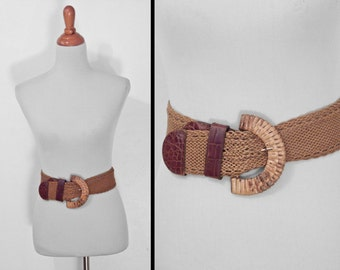 Leather RATTAN Belt 1970s DETAILS Patricia Green Braided 19 - 32 Inch Waist