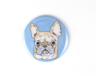 French bulldog magnet, frenchie button, french bulldog gift, dog magnet, refrigerator magnet, big pinback button, large button for backpack