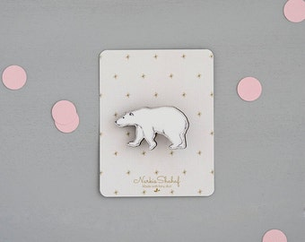 Polar bear Brooch Pin, bear illustration, brooch pin, laser cut jewellery, wooden brooch, bear jewelry, black and white, enamel pin