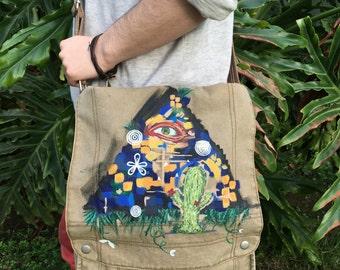 Hand Painted Messenger Bag
