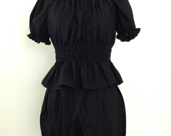 Black Shirred Lolita Blouse
