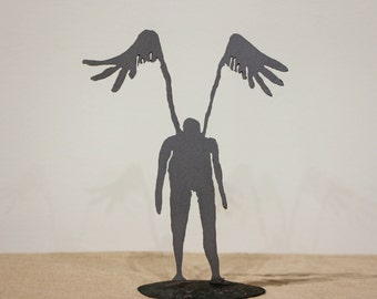 Small angel sculpture, steel figurine