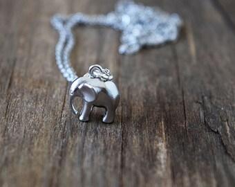 Dainty Silver Elephant Necklace / Minimalist Necklace / Mini Rhodium Elephant / Silver Elephant