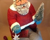 Hand Carved Wood Santa on Elephant Pull Toy