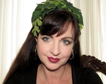 LEAFY CROWN Green Leafy Headdress Hair Adornment