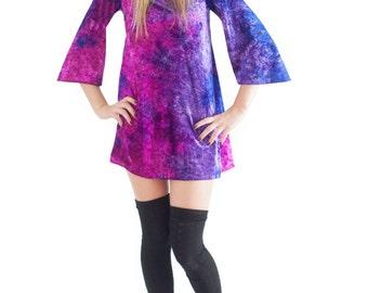 Cosmic Shift Dress Velvet Bell Sleeve Dress
