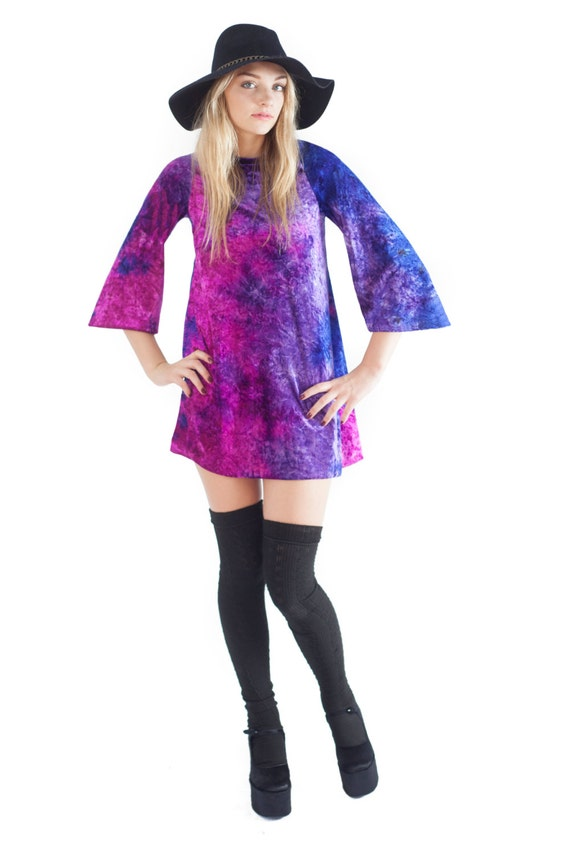Cosmic Shift Dress Velvet Bell Sleeve Dress