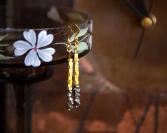 Gold Pyrite Earrings, Beaded Bar Earrings, Unique Earrings, Rustic Earrings, Fool's Gold Earrings, Yellow Bar Earrings, OOAK Jewelry