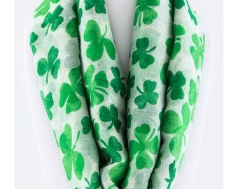 Infinity St Saint Patricks Day Clover Print Sheer Fashion Accessory Scarf