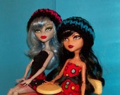 School Colors Hat for Monster High Dolls in Aqua and Black or Pink and Black