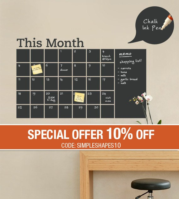 Monthly Calendar Decal, Chalkboard Wall Decal, Monthly Planner, Blackboard Calendar - by Simple Shapes