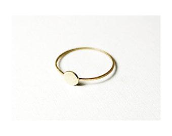 hua - tiny gold circle ring/ 14k gold circle ring/ stackable ring/ thin circle ring