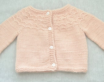 Hand knitted baby sweater, cardigan, angora wool - ready to ship - 6 months