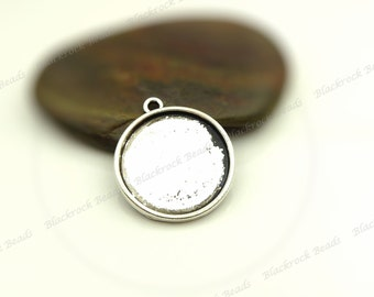 Bulk 30 Cabochon Settings Antique Silver Tone - Fits 14mm Cab, Round Bezel Trays, Cameo Base, Pendant Blanks - BA34