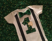 Boys St Patricks Day Shirt, Boy 1st Birthday Bodysuit, Boys Cake Smash Outfit, Bowtie and Suspenders for Boys, Boys Holiday Apparel