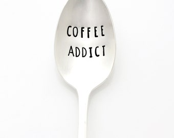 COFFEE ADDICT. Hand stamped coffee spoon. Coffee Lover Gift Idea, Stamped silverware by Milk & Honey  ®