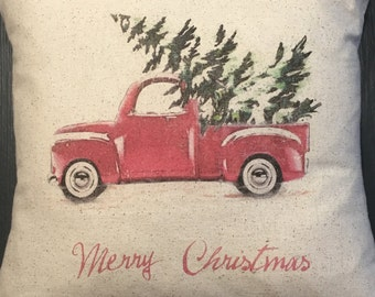 Christmas pillow, vintage style christmas pillow, farmhouse , rustic,christmas decor