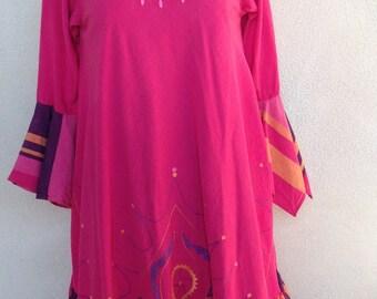 Vintage boho Josefa Mexican dress pinks embroidered fiesta cotton sz m