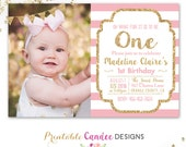 Pink and Gold Birthday Invitation - 1st Birthday Invitation - Girl Birthday Invitation - Gold Glitter Invitation - DIY Printable