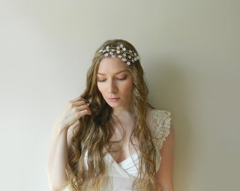 SALE White Wildflower Headpiece - Hand Wired Pearls and Hand Painted Brass Flowers - style 006
