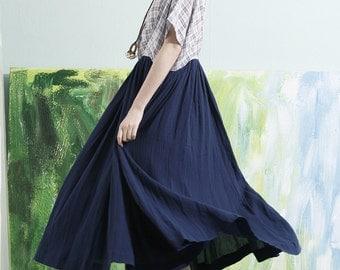 Linen Contrast Color Long Dress in Blue/ Maxi Kaftan Dress, Loose Plaid Dress Tunic Dress / XL,XXL Custom Plus Size AQ170
