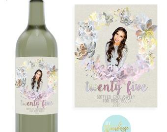 Milestone Birthday Photo Wine Label - Custom - Personalized with name & date