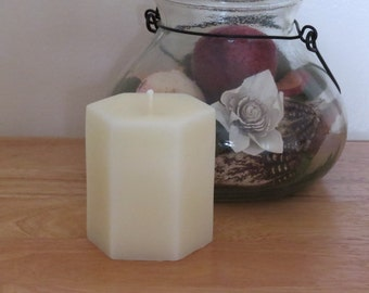 """Beeswax White Hex 4"""" Pillar Candle"""