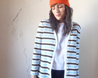70s striped cardigan/ blue white brown/ ACT III// med
