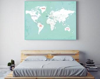World Map Canvas Art, Travel Map, Canvas World Map, Travel Decor, Nursery Wall Art, Earth, World Map, Canvas Wall Art, Blue Canvas Map