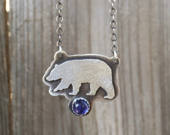 Bear Necklace Sterling Silver with Iolite gemstone