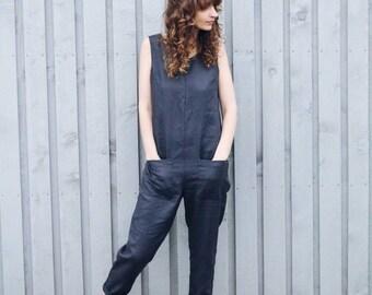 Linen Jumpsuit - Charcoal Grey Linen Jumpsuit - Linen Overall - Organic Linen Romper - Women Jumpsuit - Linen Jumpsuit - Handmade by OFFON