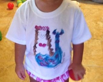 Hawaii Baby Shirt - Mermaid T Shirt - Baby Hawaiian Shirt - Hand Painted Hawaii - Hawaii Baby Gift - Little Mermaid - Kauai Mermaid
