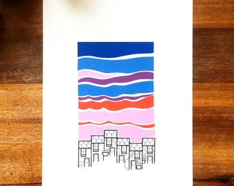 st ives cornwall illustration - 'dusk' - stylised cornish cottages drawing - st ives pink sky - hand drawn houses at sunset.