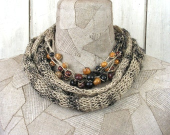 Grey Linen Necklace , Boho natural infinity scarf , loop , scarf , Hand Knitted wrap ,  knit , Bohemian clothing , Gypsy women shawl , beads