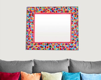 Rectangular Mosaic Wall Mirror in Red, Orange, Purple, Green // Multicolored Rainbow Mirror