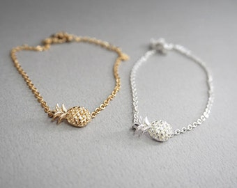 Pineapple anklet, bridesmaid gift idea, silver anklet, gold  anklet, BFF, Friendship anklet, Gift Idea
