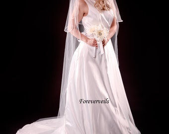 2 layer cathedral wedding veil with blusher long flowing bridal veil - white, ivory, diamond white, champagne - cut edge satin edge