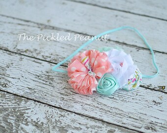 Vintage Baby Headband Baby Bow Baby Girl Infant Headband Girl Headbands Headband for Babies Baby Head Band Hairbow Baby Hair Bow Pink Aqua