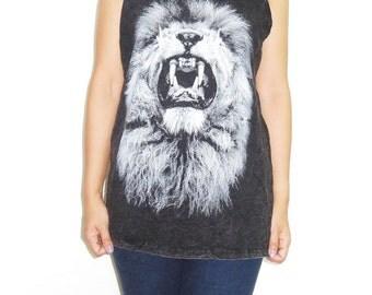 Lion tank top Lion Head tshirt Lion T Shirt Rock Shirt women Tank top unisex tank top bleach black shirt size M