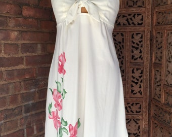 1970s Sundress with Tie Front and Pink Flowers