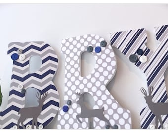 Deer Nursery. Navy and Gray. Wood Letters. Boys Nursery. Hunting. Nursery Decor. Name letters. Nursery Letters. Baby. Navy. Grey. Chevron.
