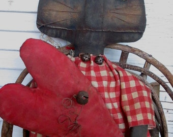 "Made to Order~Primitive Grungy Folk Art~ 17""  Lucky's Heart Cat Doll Set~HAFAIR"