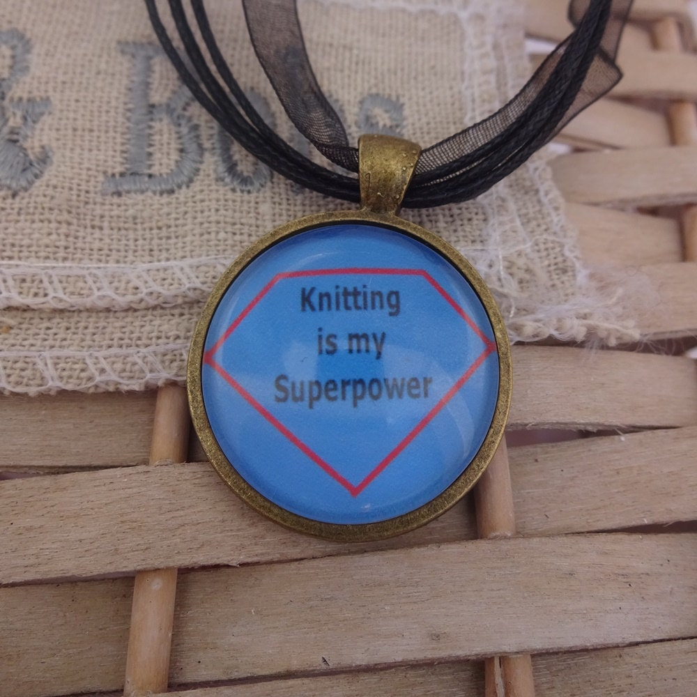 Knitting Jokes Gifts : Funny pendant joke necklace knitting is my superpower