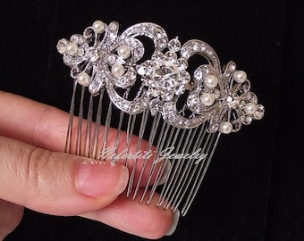 Pearl Wedding hair comb, Bridal hair piece, Bridal Hair Comb, rhinestone & pearl hair comb, Swarovski wedding comb