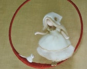 Wool doll /Nursery Mobile  / Wall Hanging Waldorf inspired  : Girl with white mouse