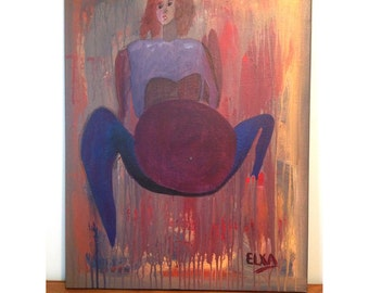 Woman with a gym ball, original acrylic painting on canvas