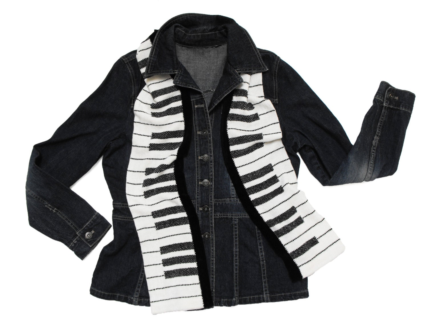 piano scarf handwoven piano key scarf black and white