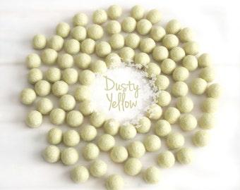 Wool Felt Balls - Size, Approx. 2CM - (18 - 20mm) - 25 Felt Balls Pack - Color Dusty Yellow-6010 - 2CM Pom Pom - Pastel Yellow Felt Balls
